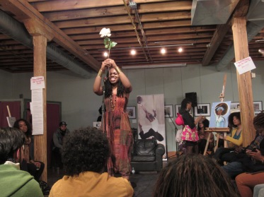 Headliner Dynesti Williams performing a mix of song and poetry