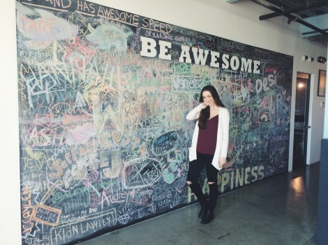Anja at the AwesomenessTV office.